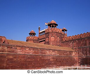 delhi, fort, india., vieux, rouges