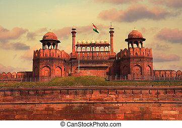 delhi, gyönyörű, india, napnyugta, közben, piros fort