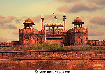 delhi, hermoso, india, ocaso, durante, fuerte rojo