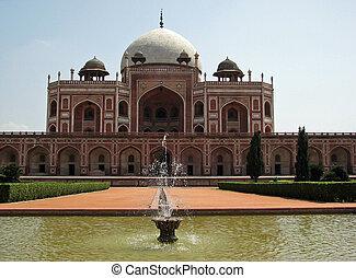delhi, humayun's, india., nuevo, tumba, emperador, mughal