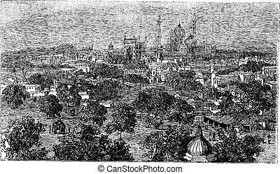 Delhi in India, vintage engraving