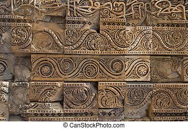 delhi, inde, murs, minar, qutub, découpé, complexe