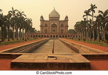 delhi, inde, tombe, safdarjung, nouveau