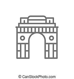 delhi, india, cancello, nuovo, linea, arco triumphal, icon.