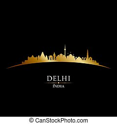 Delhi India city skyline silhouette black background