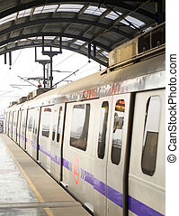 Metro - Delhi, India - March 03, 2012: Delhi Metro station ...