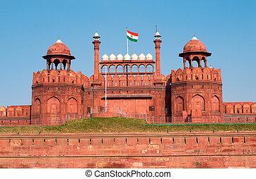 delhi, indie, czerwony fort