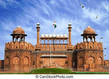 delhi, indien, altes , rotes fort