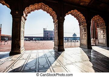 delhi, mosquée, vieux, masjid, india., jama