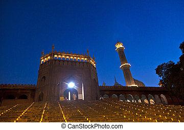 delhi, mosquée, vieux, nuit, masjid, india., jama