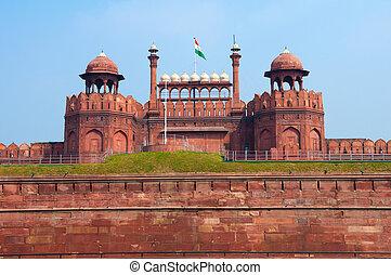 delhi, nuevo, india, fuerte rojo