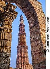 delhi, o, minar, qutub, india., qutb, minar, mundo, torre,...