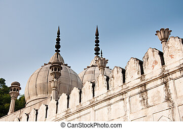 delhi, vieux, indien, traditionnel, fortifications, india., fort, rouges