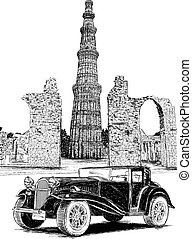 delhi, wóz, -, ilustracja, minar, qutub, wektor, rocznik wina, nowy, indie
