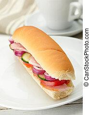 deli, 小さい, 野菜, サンドイッチ, 肉