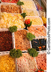 Variety of food and saue in deli
