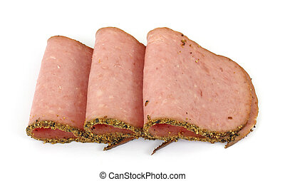 Deli fresh turkey pastrami - Several slices of deli fresh ...