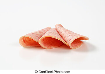 thin slices of cooked deli meat sausage