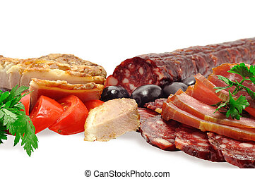 deli meats, sausage, olives, tomatoes, fresh herbs, isolated