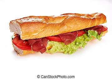 deli sandwich isolated on white background