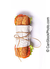 deli sandwich isolated in white background. top view