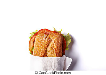 half of deli sandwich isolated on white background. top view