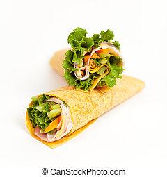 Deli Tortilla Wrap Cut in Half