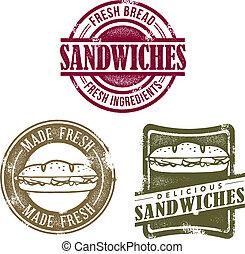 deli, vendemmia, francobolli, panino