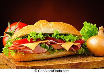 deli, verdura, panino, sub