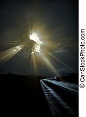 Deliberately Dark Lonely Road with light rays