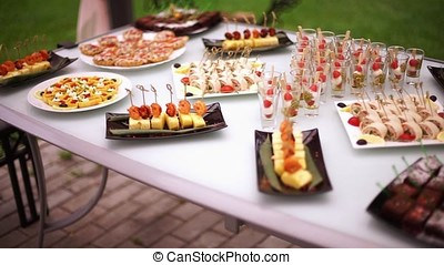 Delicacies, appetizers, desserts at the Banquet. Buffet, catering service. On-site restaurant-3