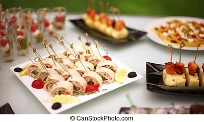 Delicacies, appetizers, desserts at the Banquet. Buffet, catering service. On-site restaurant-5