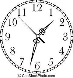 delicado, disco, rosto relógio