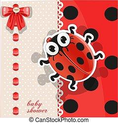 delicado, rojo, fiesta de nacimiento, tarjeta