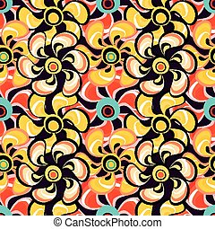 delicate abstract flowers seamless pattern