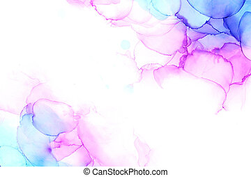 Delicate abstract hand drawn watercolor background in pink and blue tones. Alcohol ink art. Raster illustration.