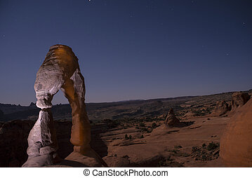 Delicate Arch at Night, Moab Utah - Long exposure night...