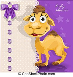 Delicate baby shower card with came