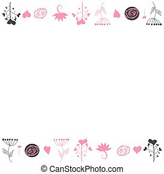 Delicate background, frame, scrapbook, with pink flowers, roses, balls and hearts.
