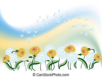 Abstract background with a delicate dandelion and flying feathers. Illustration.