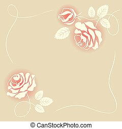 Delicate beige card with roses
