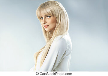 Delicate blonde woman with fabulous complexion - Delicate...