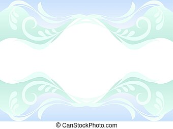 Delicate blue and green background with floral pattern