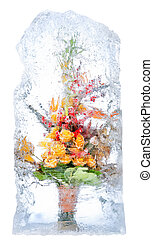 delicate bouquet of flowers in the ice