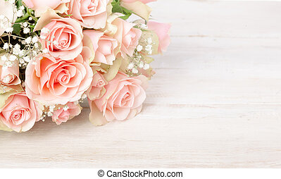 Delicate bouquet of fresh pink roses