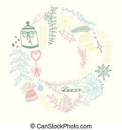 Delicate Colored Ornament Round Frame Sketch Composition