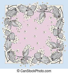 Delicate colors of silk scarf with flowering asclepias syriaca . Pink, blue and white.