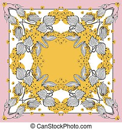 Delicate colors of silk scarf with flowering asclepias syriaca . Pink, yellow and white.