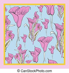 Delicate colors of silk scarf with flowering callas.