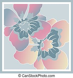 Delicate colors of silk scarf with flowering flowers.